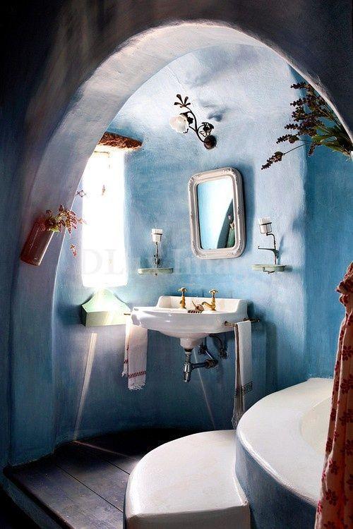 blue clay and concrete bathroom