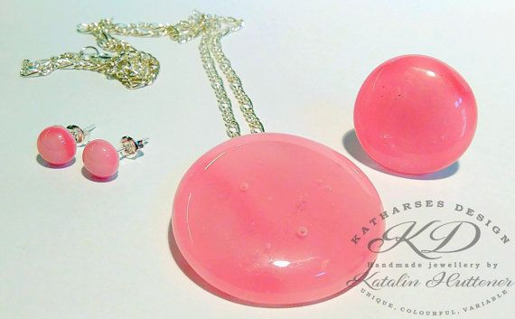 RASPBERRY MOUSSE - Fused Glass Pendant Ring Earrings Set with Sterling Silver Plated Necklace, Pink Jewellery Set