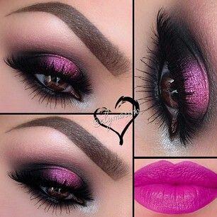 @Elymarino- stunning fuschia eye makeup ♡