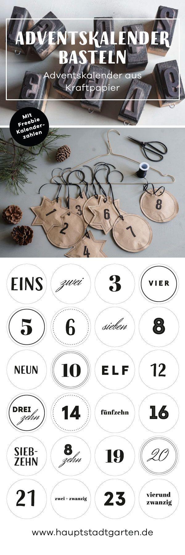 Adventskalender für Kinder und für Erwachsene zum selber basteln aus Packpapier und Upcycling eines alten Kleiderbügels. Adventskalenderzahlen als Freebie.