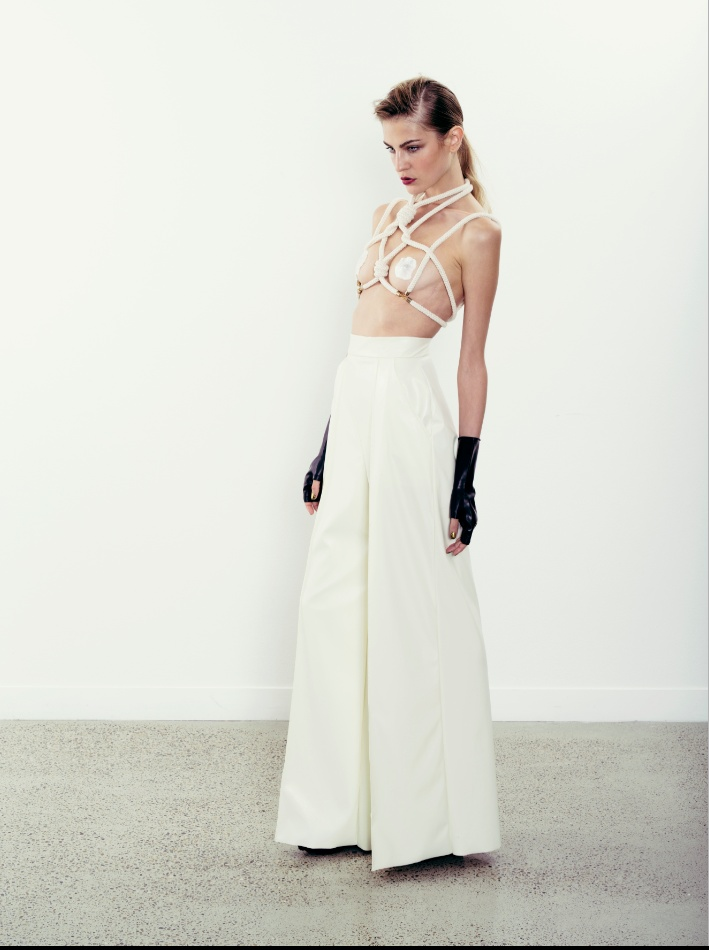 rope top & leatherette pants.