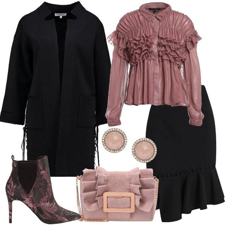 Un+outfit+composto+da+cardigan+nero,+colletto+alla+coreana,+tasche,+motivo+di+laccetti+incrociati+all'orlo,+abbinato+a+gonna+a+tubino+nera+al+ginocchio,+vestibilità+stretta,+orlo+asimmetrico+con+volant,+bottoncini+decorativi.+Camicetta+rosa+antico,+collo+italiano,+pieghe+e+rouches,+stivaletto+malva+in+fantasia+floreale,+punta,+tacco+a+spillo,+elastico,+tracollina+in+pelle+rosa,+fibbia,+rouches,+orecchini+a+perno+tondi,+rosa+con+cristalli.