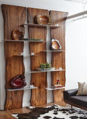 Wall Shelf Made of Suarina Root Wood / Natural Finish / Aluminum Shelves