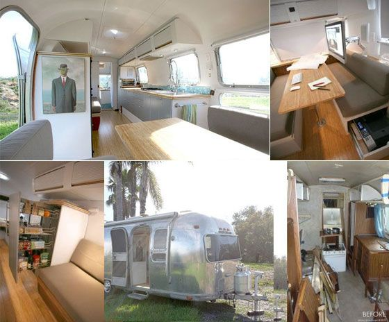 simple and modern twist to the interior of an airstream camper