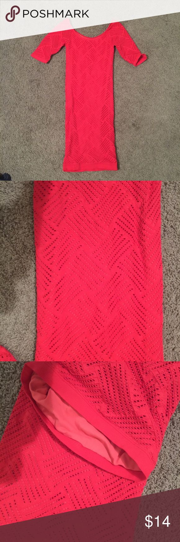 Bebe - red tight long sleeve dress - small Bebe dress, no tags. Red and great condition bebe Dresses Long Sleeve
