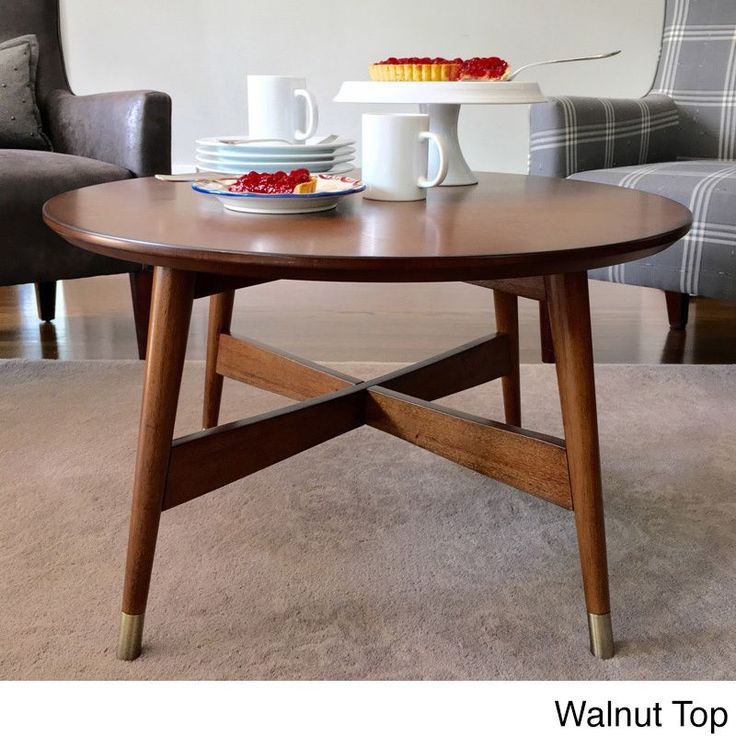 ANGELOHOME angelo:Home Allen Round Coffee Table (Walnut Top and Legs), Brown