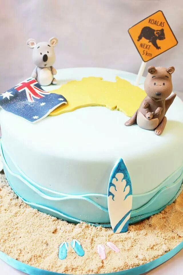 Australian Themed Cake with Kangaroo & Koala topper