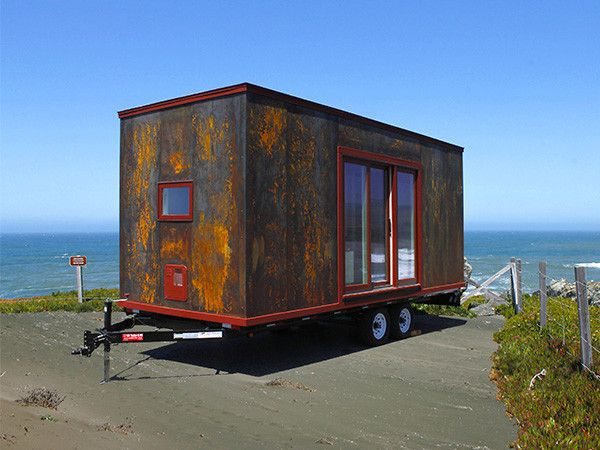 Steel tiny house in wheels