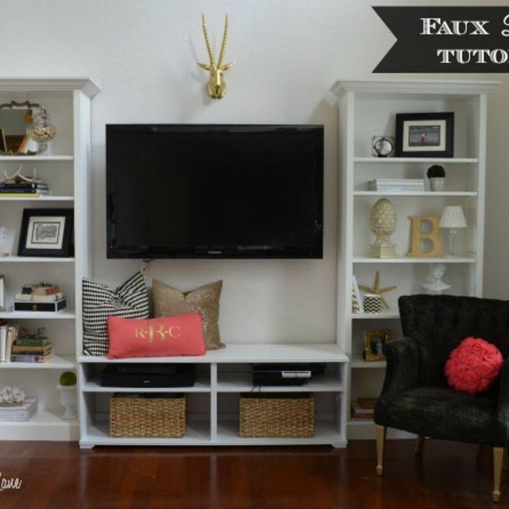 Faux Built In Living Room Shelves Tutorial