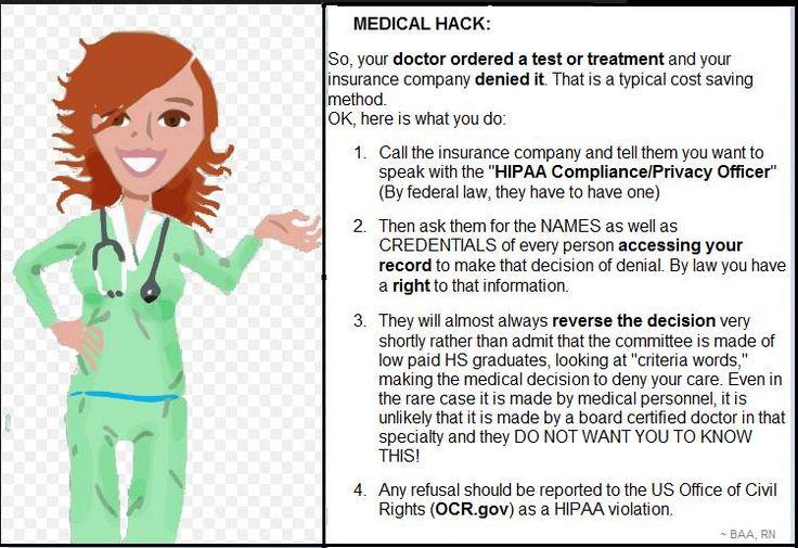 Medical hack when denied coverage by health insurer | Beth Anne Algie, RN