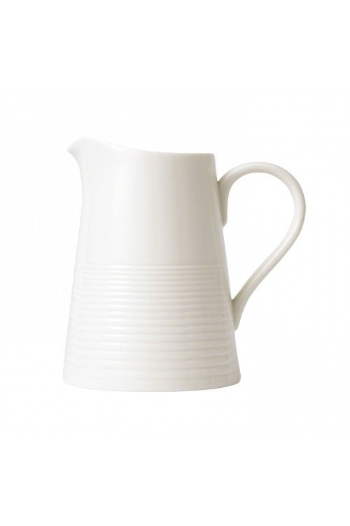 Gordon Ramsay by Royal Doulton Maze White Large Jug. At Waterford Wedgwood Royal Doulton, Tanger Outlets, San Marcos, TX or call 1-800-203-4540 or 512-396-4025