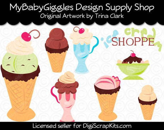 ON SALE Ice Cream Shoppe Clip Art Digital Graphics Scrapbook Card Making Supply INSTANT Download
