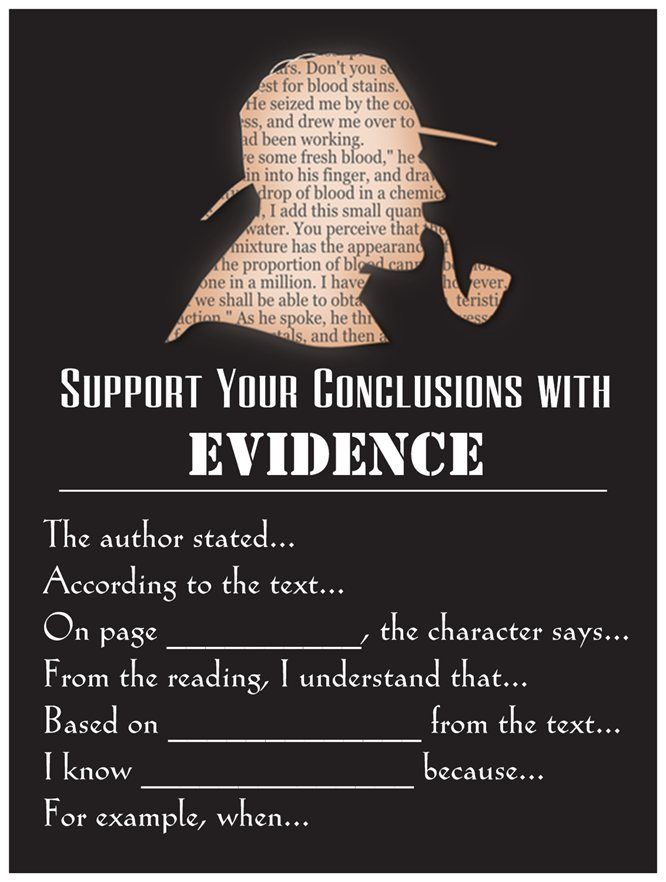 "Poster I created to emphasize the use of text-based evidence in the classroom. It will be used right off the bat with my 3-levels of questions and ""the Sherlock Holmes method of reading"" (inference) lesson!"