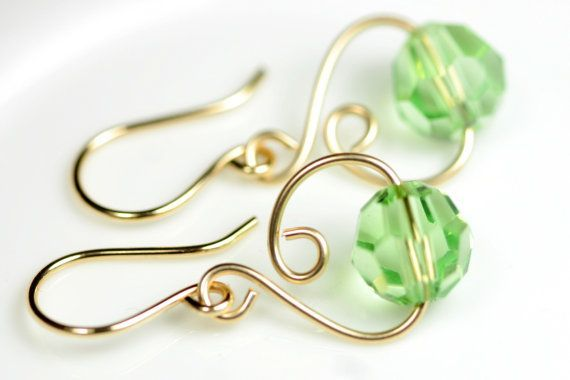 wire wrapped jewelry | Gold Peridot Earrings Wire Wrapped Jewelry … | Wire Jew
