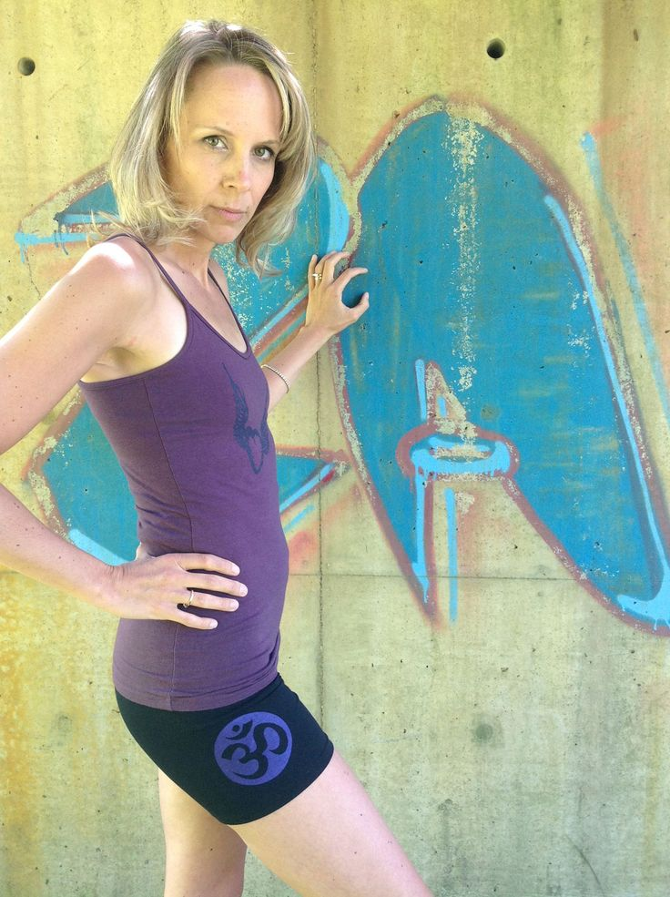 Squeezed Yoga Clothing Yoga Shorts in Black with a Violet OM. Perfect for Summer ! squeezed.ca/...