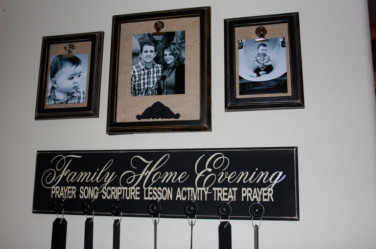 Lanier Creations: Burlap Picture Frames and FHE Board