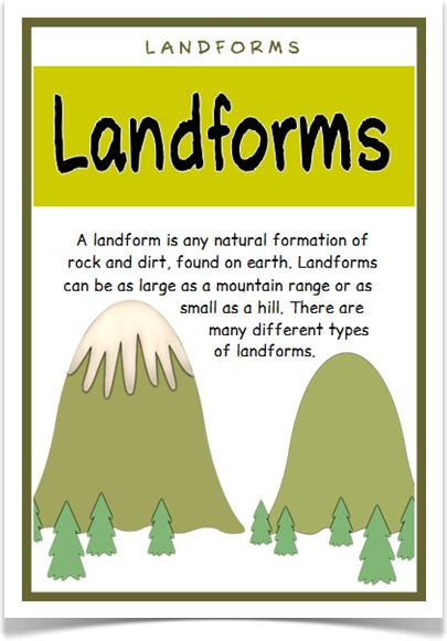 Landforms - Treetop Displays - With a title/explanatory poster, here is a set of 18 A4 posters that give information on different types of landforms. A useful resource for any class learning about topography, or physical or topographical features. Visit our website for more information and for other printable classroom resources by clicking on the provided links. Designed by teachers for Early Years (EYFS), Key Stage 1 (KS1) and Key Stage 2 (KS2).
