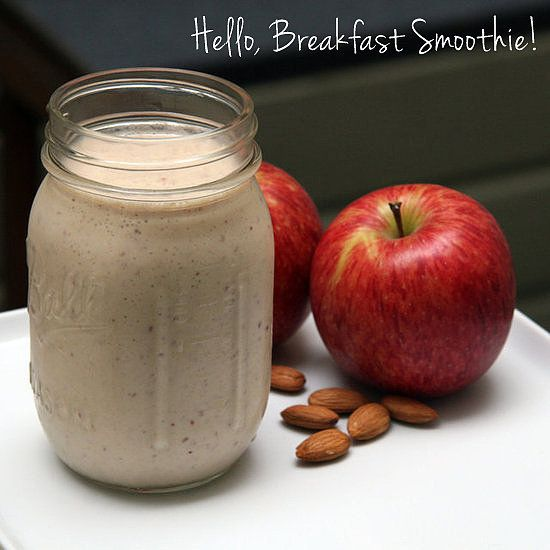 apple cinnamon smoothie 5 almonds 1 red apple 1 banana 3/4 cup nonfat greek yogurt 1/2 cup nonfat milk 1/4 teaspoon cinnamon