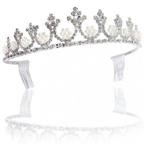 Bling Jewelry White Gold Cluster Pearl Crown Bridal Tiara
