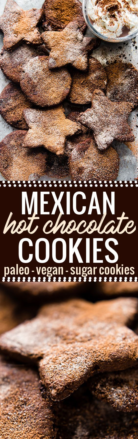 These Mexican Hot Chocolate Sugar Cookies are festive and easy to make! Mexican Hot Chocolate with cinnamon, cocoa, and a pinch chili spices are what make these Sugar cookies unreal good! Paleo and vegan friendly, no butter or dairy needed. So good for ho