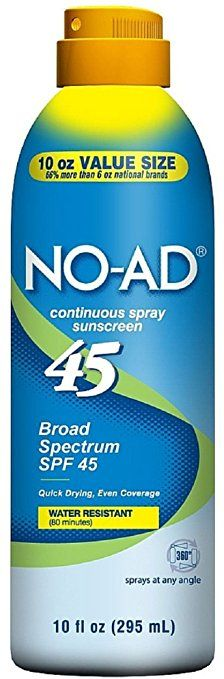 NO-AD Water Resistant Continuous Spray Sunscreen SPF 45 10 oz (Pack of 3) Review