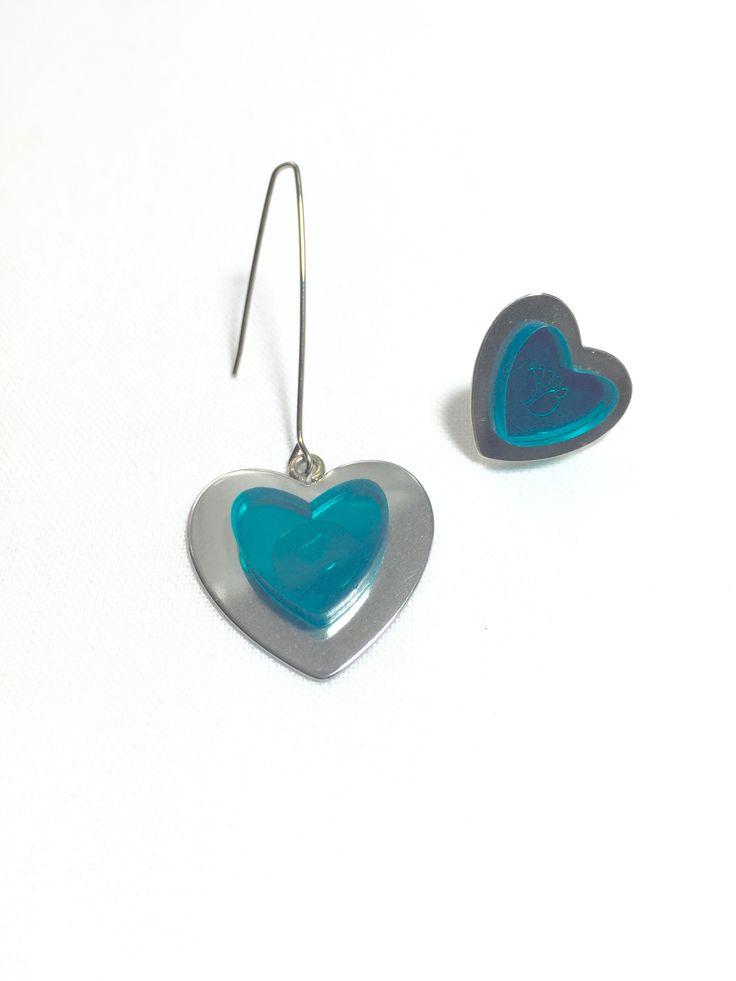 Turquoise Heart Asymmetrical Earrings