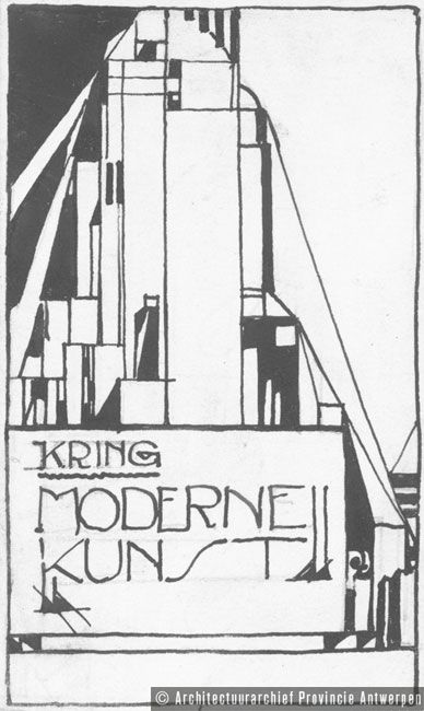 Vignet voor de Kring Moderne Kunst. Ontwerp Eduard Van Steenbergen (z.j.). photo credit: Architectuurarchief Provincie Antwerpen, found on the website: http://www.debalansvanbraem.be