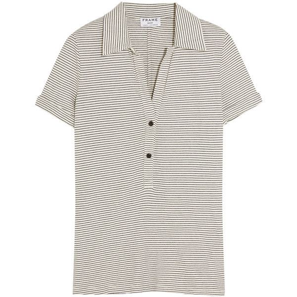 Frame Denim Le Polo striped stretch-jersey T-shirt (£65) ❤ liked on Polyvore featuring tops, t-shirts, white, striped tee, sports t shirts, fitted tee, slim fit t shirts and polo white tees