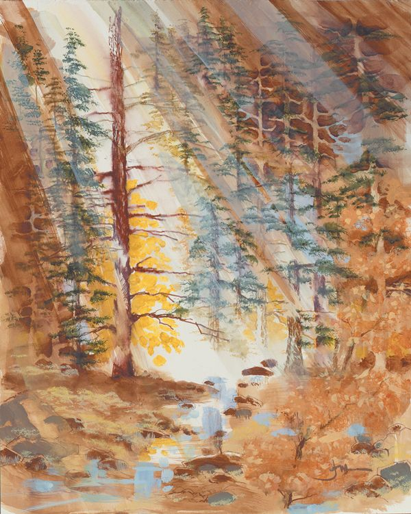 """Learn about Joni's """"Light in the Forest"""" painting on Kid's Corner and see what you or your kids can create using different art tools!"""