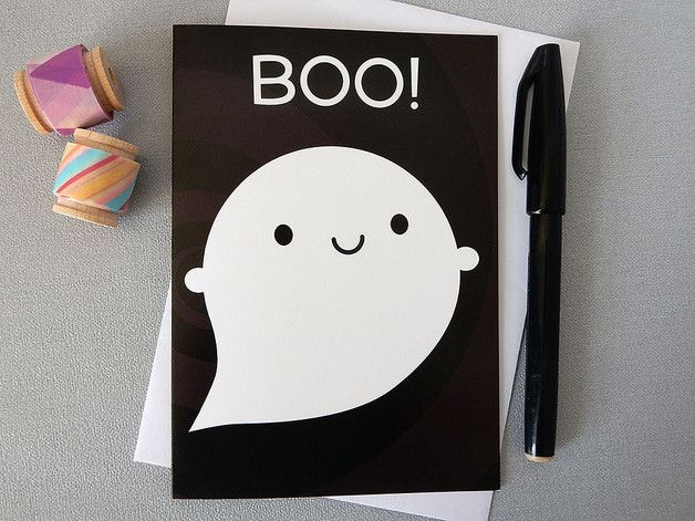 Halloween – Boo! Happy Ghost Card - Kawaii Halloween – a unique product by askingfortrouble on DaWanda