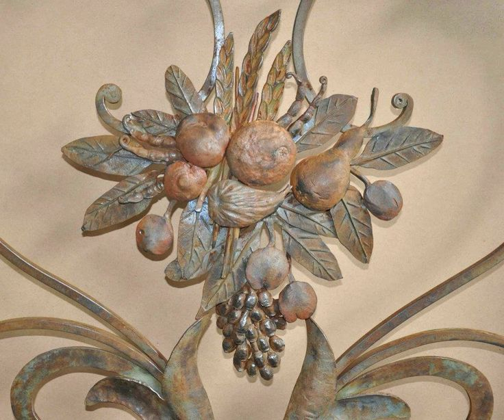 Detail fruit cluster - painted wrought iron