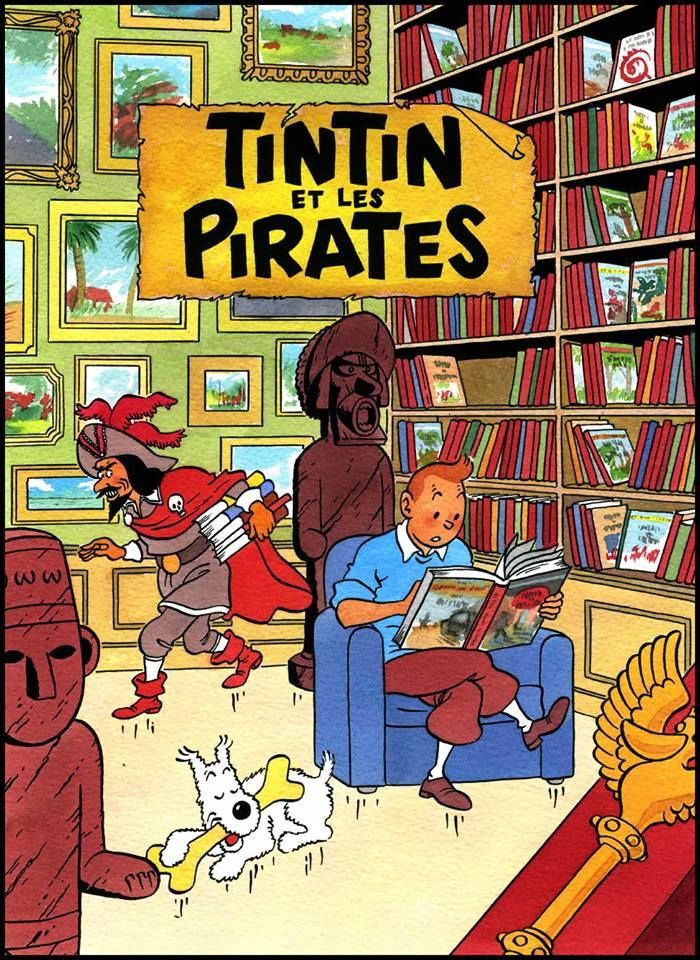 Mise en couleur à l'écoline sur papier aquarelle.   Tintin