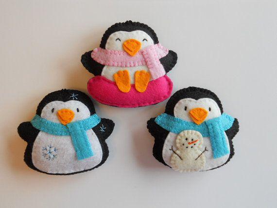 Penguin Snow Day Felt Ornaments.