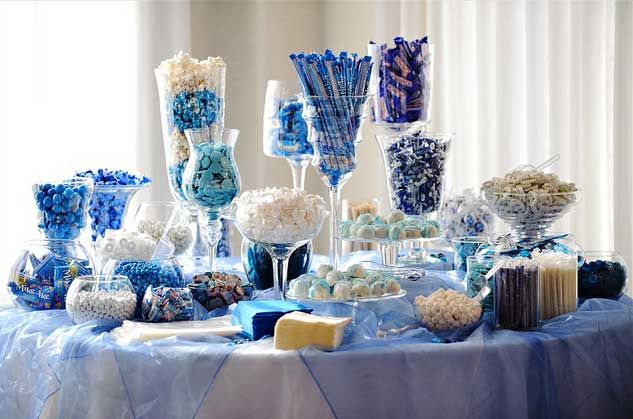 mariage, wedding, decoration, candy bar, blue, bleu