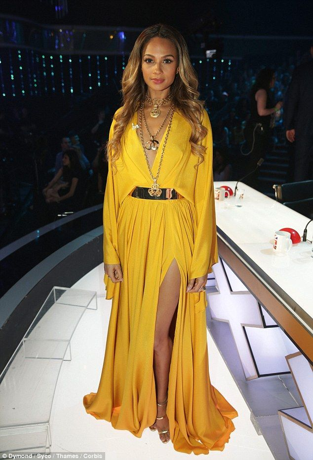 Golden girl: Alesha Dixon opted for a gorgeous yellow dress and gold jewellery on the second night of the Britain's Got Talent semi-finals on Tuesday