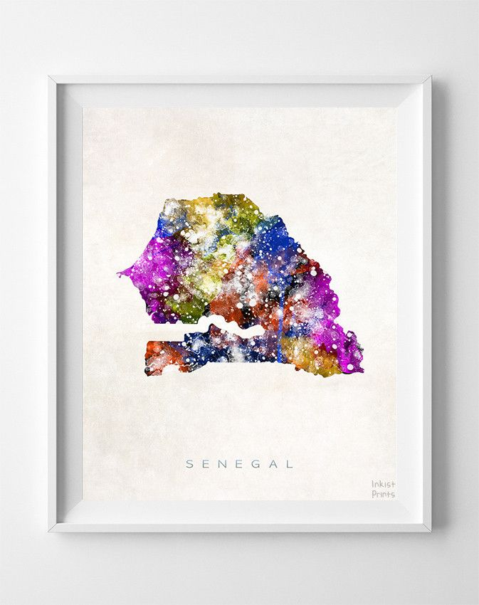 Senegal Watercolor Map Print