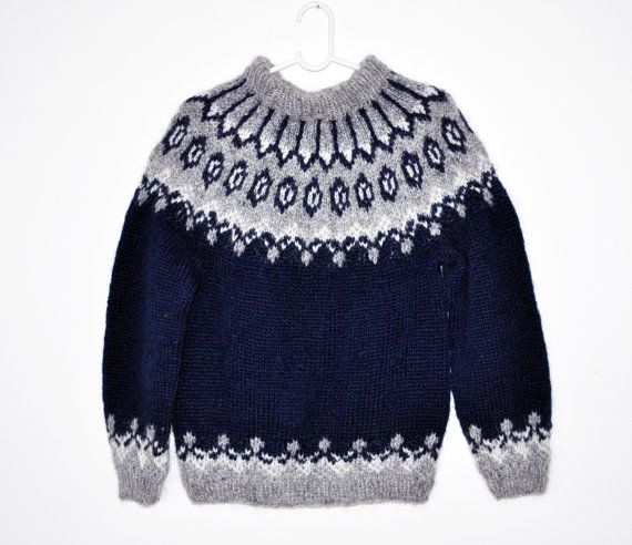 Blue traditional Icelandic Lopapeysa with shoulder pattern woolen adult sweater hand knitted out of pure Icelandic lambs wool