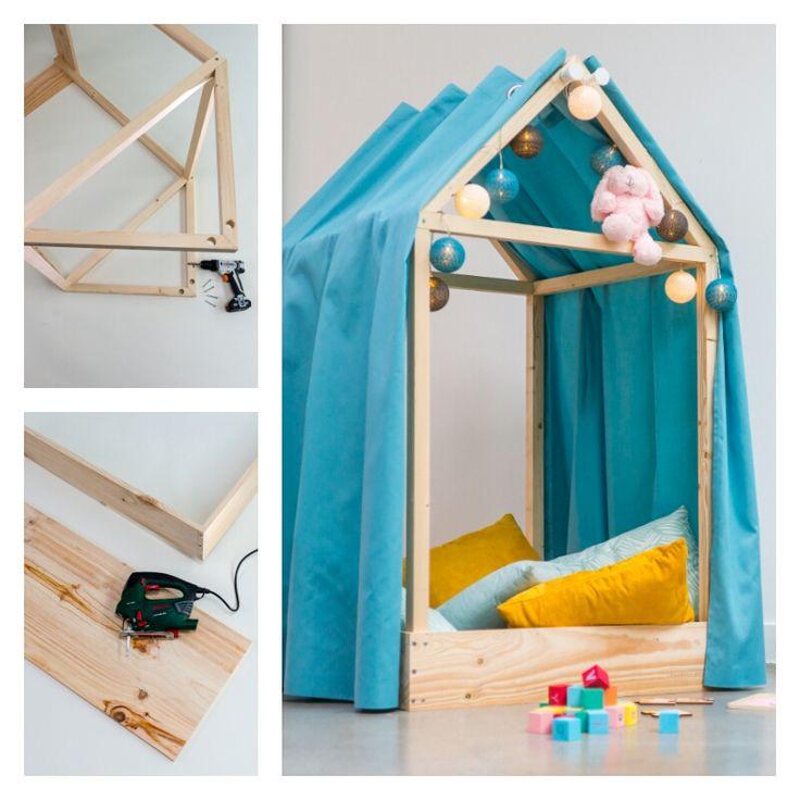 DIY : Fabriquer une cabane de lit #DIY #tuto #tutoriel #bricolage #brico #leroymerlin #ideedeco #madecoamoi #chambre #enfant #tipi