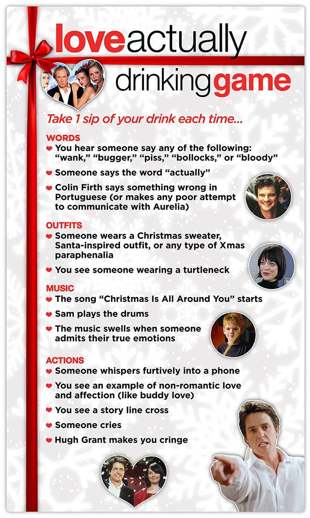 "This ""Love Actually"" Drinking Game.. my brothers favorite movie, need this around the holidays"