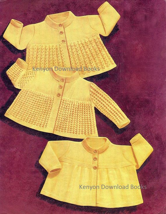 INSTANT DOWNLOAD  Knitting Pattern  Jacket Sweaters  3 Designs 3 Sizes: 19-20-21 (approx. 6-12-18 mos)  3 Ply  This pattern is ready to download to your computer.  Thank you and Enjoy! Kandyce  Kenyon Download Books 0095