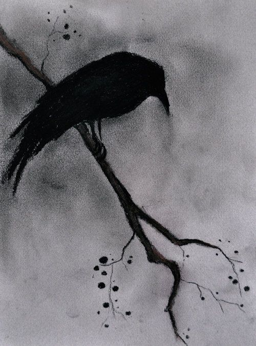 Original Raven Drawing Charcoal Drawing Gothic Halloween Dark Art 12x9""