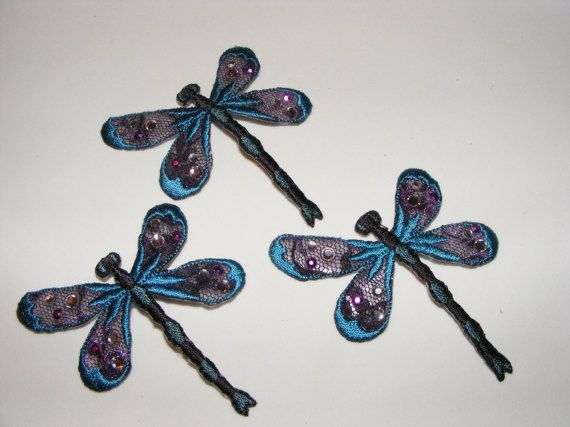 Dragonfly Insect Bug Embroidered Appliques Lot of 3 by LoveLaly