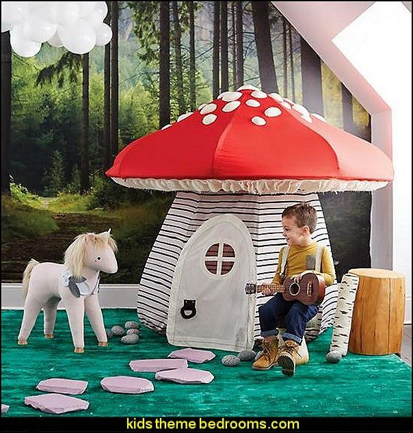 Mushroom Playhouse-fairytale forest theme bedroom decorating ideas