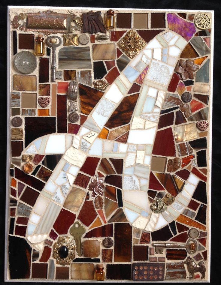 Mosaic Monogram plaque with the letter A. Rustic country feel with vintage found and re-purposed items.