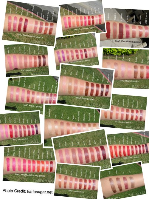Glossy Talk | ULTIMATE MAC Lipstick Dupe List in Alphabetical Order. Photo swatches credit: karlasugar.net