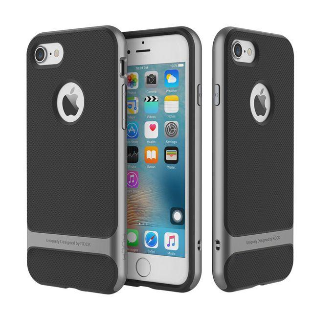 Per iphone 7 case rock serie royce jet colore nero tpu + pc anti-bussare protettiva case per apple iphone 7 plus indietro copertura