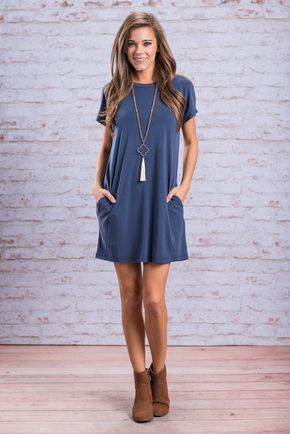 """I'll Never Take It Off Dress, Blue"" You'll understand why you'll never want to take this dress of once you can feel the fabric and experience the fit for yourself! It's fabric is so soft and the fit so comfy but stull so cute! #Newarrivals #shopthemint"