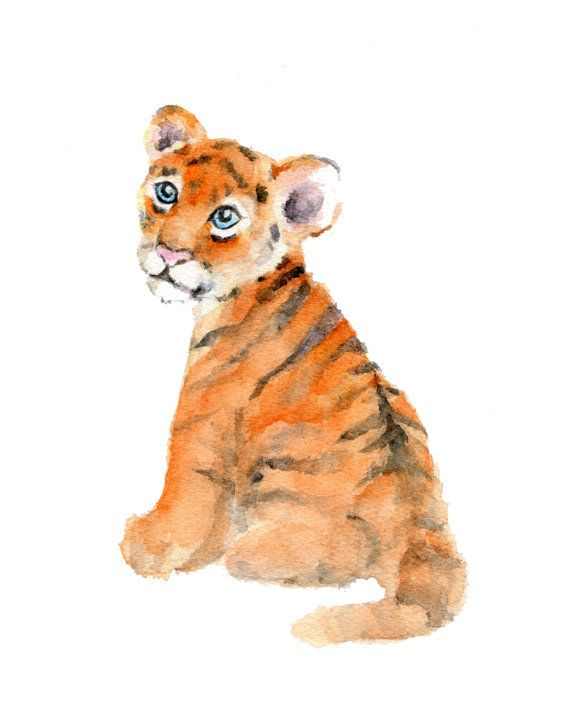 **** 8 x 10 inch vertical print of a tiger cub from one of my original watercolor paintings    ****printed on Velvet Fine Art paper which has