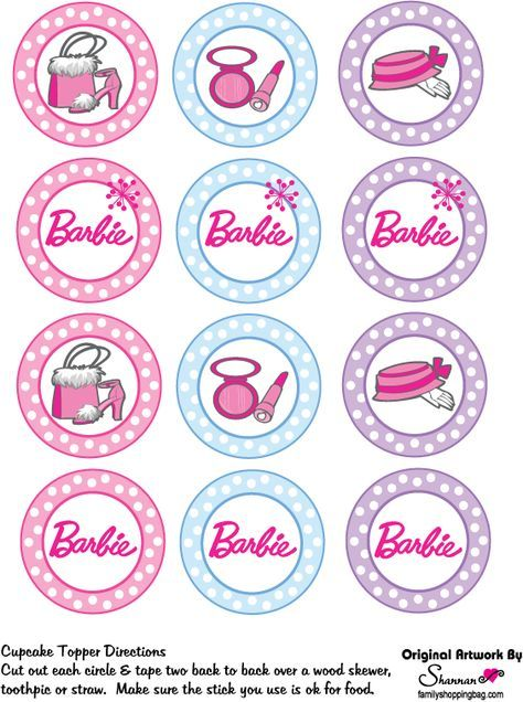 Barbie cupcake toppers.