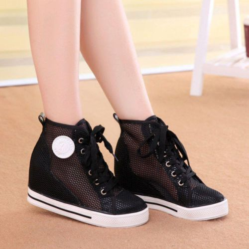 Womens-Heel-Wedge-Shoes-Canvas-Lace-Up-Ankle-Boots-Breathable-Mesh-Hollow-Shoes